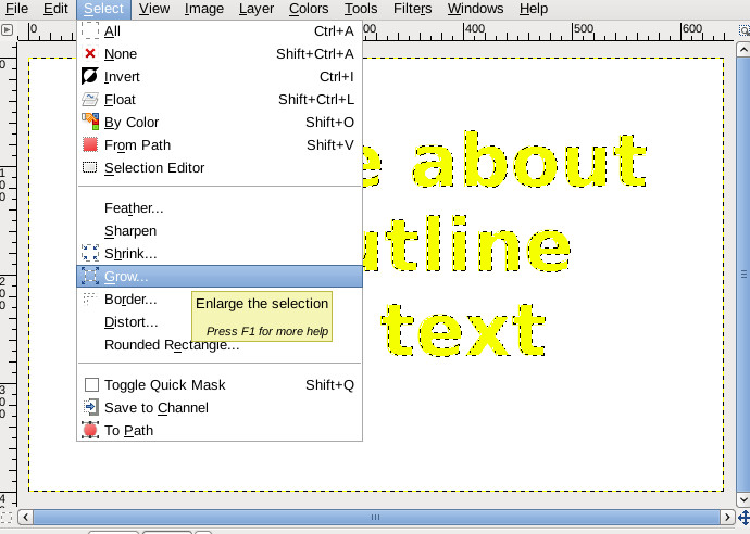 HOWTO outline text in GIMP - LinuxReviews