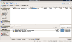 qBittorrent v4.3.0alpha1 seeding Fedora Linux's Xfce spin which is available as a torrent at torrents.fedoraproject.org. qBittorrent is written using the Qt toolkit.