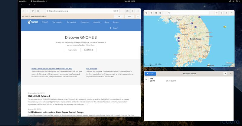 GNOME 3.38 on Fedora 33 showing Web Maps And Sound Recorder.jpg