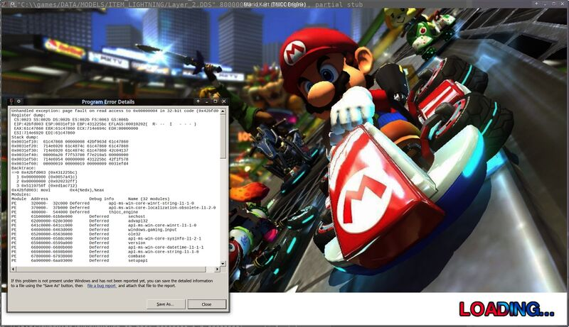 Mario Kart DX12 Wine vkd3d 1.2 such page fault.jpg