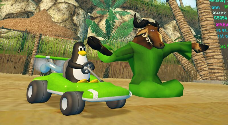 Tux And GNU at the the beach - SuperTuxKart.jpg